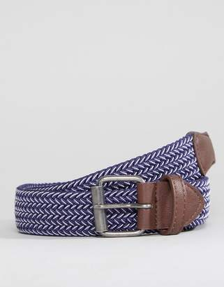 Asos Wide Woven Belt In Navy And White