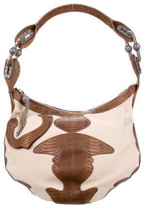 Jimmy ChooJimmy Choo Snakeskin & Canvas Handle Bag