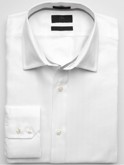 BR Monogram barrel cuff herringbone solid shirt