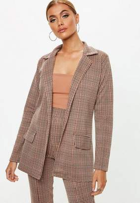 Missguided Brown Heritage Check Blazer, Brown