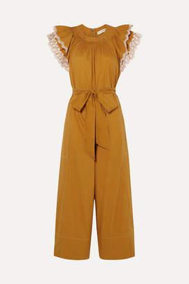 Ulla Johnson Landon Ruffled Broderie Anglaise-trimmed Cotton-poplin Jumpsuit - Saffron