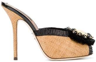 Dolce & Gabbana embellished raffia mules