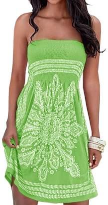 AGL Imagine Women's Summer Dress Strapless Floral Print Bohemian Casual Mini Cover up Beach Dresses(WR,L)