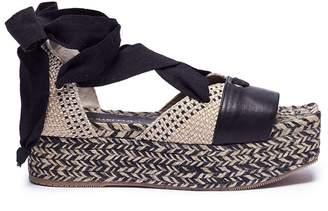 Paloma Barceló 'Nerine-C' lace up weave espadrille platform sandals