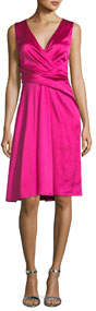 Sleeveless Wrap-Front A-Line Crepe Satin Cocktail Dress