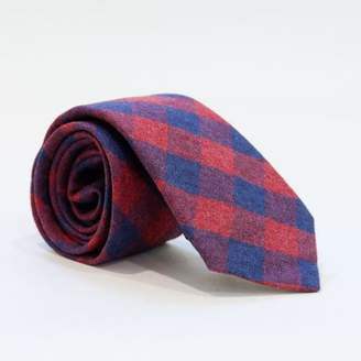 Blade + Blue Burgundy & Navy Blue Buffalo Check Brushed Cotton Tie