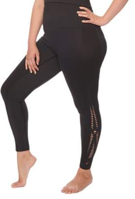 Under Control Women's Plus Size Active Control Waistband Yoga Pants with Crochet Knit Design