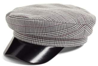 Leith Faux Leather & Glen Plaid Baker Boy Hat