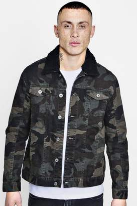 boohoo Camo Denim Jacket With Borg Collar