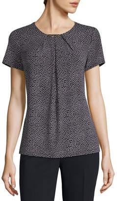 Liz Claiborne Short Sleeve Neck Trim Packable Top - Tall