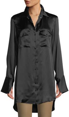 Olivier Theyskens Long-Sleeve Snap-Front Patch-Pockets Oversized Velvet Shirt