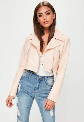 Missguided Pink Cropped Faux Snake Biker Jacket