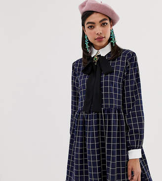 Sister Jane shirt mini dress with pussybow collar in grid check print