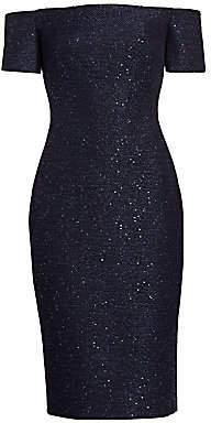 Lela Rose Women's Sequin Embroidery Tweed Midi Dress