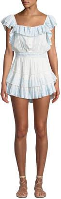 LoveShackFancy Marina Tiered Floral Ruffle Coverup Dress