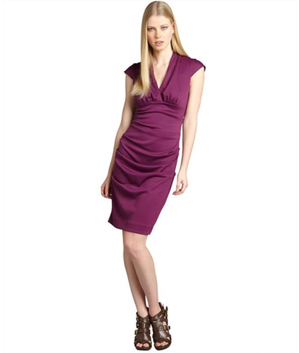 Nicole Miller plum ponte knit pleated cap sleeve dress