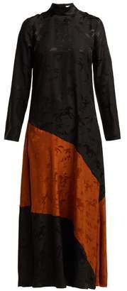 Ganni Ackerly Horse Jacquard Silk Dress - Womens - Black Multi