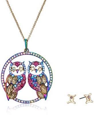 Betsey Johnson Women's Gemini Zodiac Necklace and Earrings Set