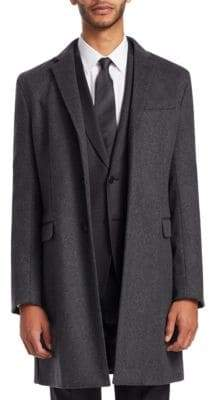 Emporio Armani Men's Wool Cashmere Top Coat - Grey - Size 48 R