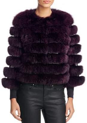 Maximilian Furs Leather Trim Saga Fox Fur Coat