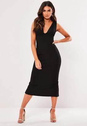 Missguided Black Mesh Overlay Bodycon Midi Dress