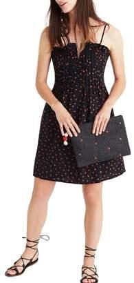 Madewell Strawberry Print Pintuck Ruffle Dress