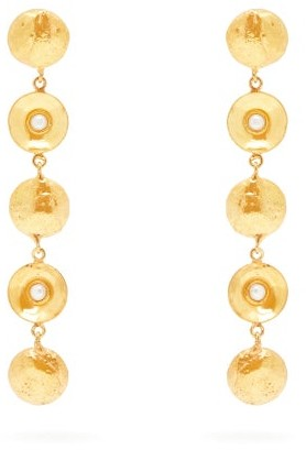 Sylvia Toledano - Pearl Disc Charm Drop Earrings - Womens - Pearl