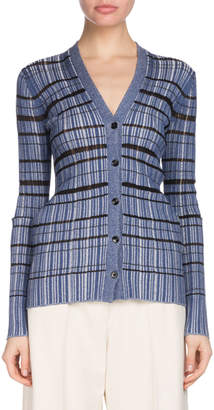 Proenza Schouler V-Neck Button-Front Striped Ribbed Cardigan