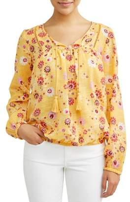Sofia Jeans Boho Peasant Tassel Longsleeve Top Women's (Mustard Floral)