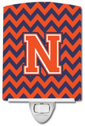 N. Caroline's Treasures Letter Chevron Orange and Blue Ceramic Night Light