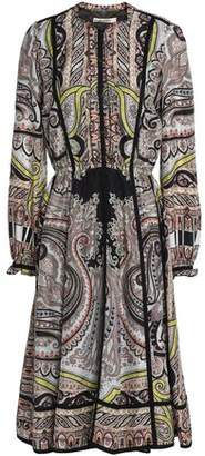 Etro Pleated Printed Silk Crepe De Chine Dress