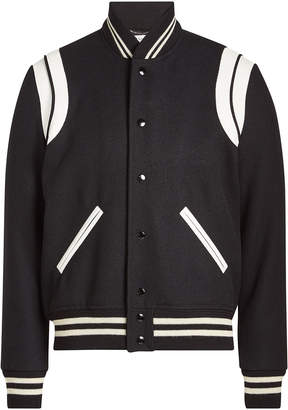 Saint Laurent Virgin Wool Blouson with Leather