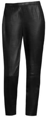 St. John Cropped Leather Leggings