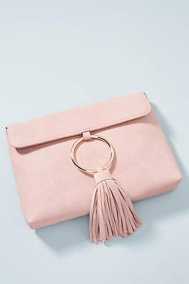 Anthropologie Sabina Faux Leather Tasseled Ring Clutch