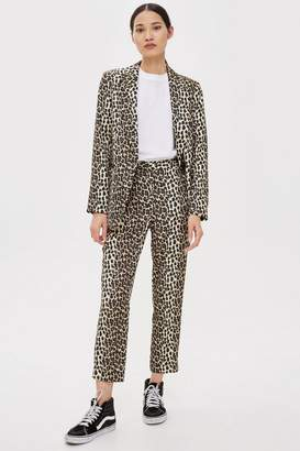 Topshop Brown Leopard Suit Trousers