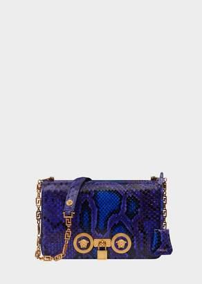 Versace Medium Python Leather Icon Shoulder Bag