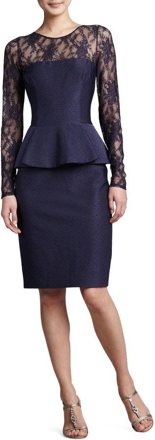 David Meister Illusion-Neck Peplum Cocktail Dress