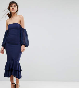Jarlo Midi Off Shoulder Midi Dress With Frill Detail
