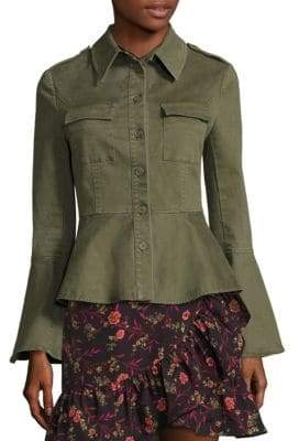 Scripted Military Bell-Sleeve Peplum Jacket
