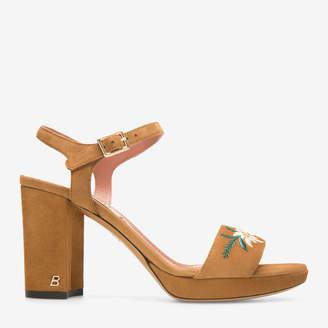 Poly Black, Womens kid suede platform sandal with 85mm heel in black Bally