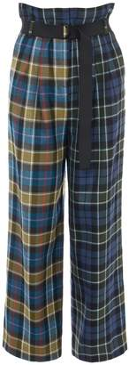 Tibi Tartan Stella Wide Leg Paperbag Pants with Belt in Loden Green Multi