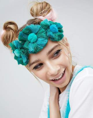 Asos Design DESIGN Tassel Fan Headband
