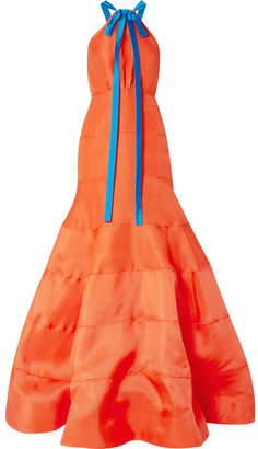 Rosie Assoulin Bow-embellished Silk-gazar Gown - Papaya