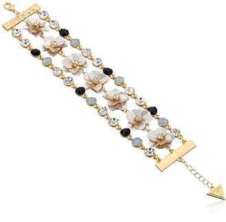 GUESS Floral La Femme Women's Link Bracelet with Stones and Sequin Flowers
