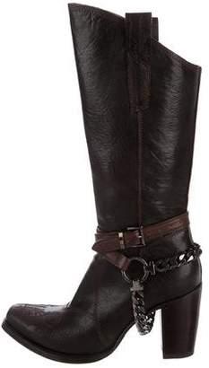 Gianni Barbato Chain-Embellished Leather Boots