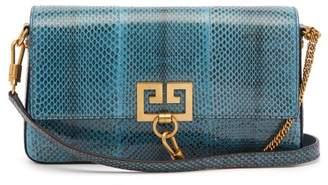 Givenchy Charm Ayers Snakeskin Shoulder Bag - Womens - Blue