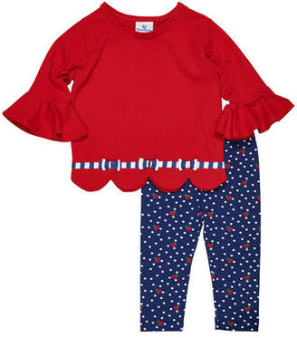 Florence Eiseman Solid Scallop-Hem Top w/ Ladybug-Print Leggings, Size 2-6X