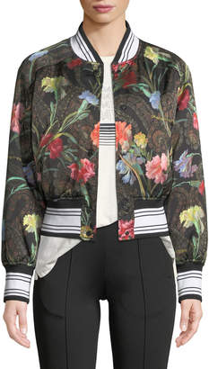 Off-White Off White Snap-Front Floral-Print Cropped Varsity Jacket