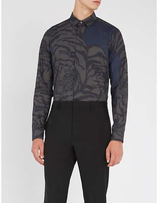 Valentino Tiger-print slim-fit cotton-poplin shirt