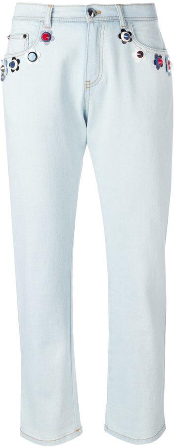 FendiFendi floral detail stretch denim jeans